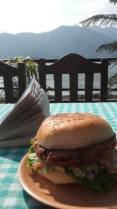 Savouring the view, a good read and a homemade veg burger in Pokhara, Nepal <3