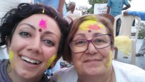 holi, india, mother, daughter